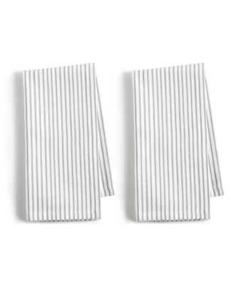 2-Pc. Pinstriped Gray Cotton Napkin Set, Created for Macy's