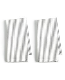 Martha Stewart Collection 2-Pc. Pinstriped Gray Cotton Napkin Set, Created for Macy's