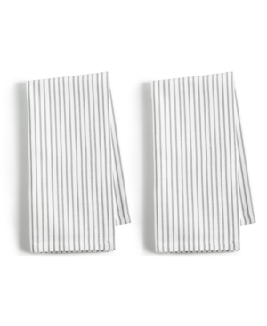 Closeout! Martha Stewart Collection 2-Pc. Pinstriped Gray Cotton Napkin Set, Created for Macy's