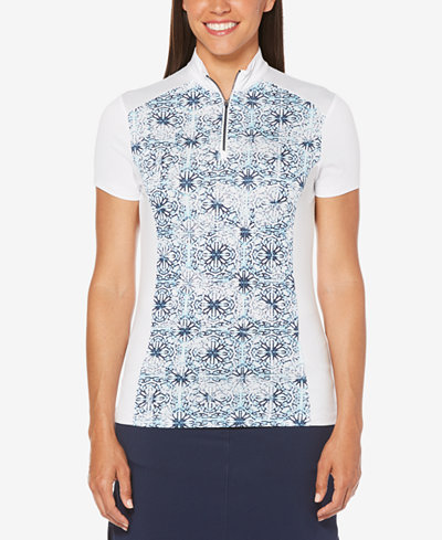 Callway Printed Mock-Neck Golf Top
