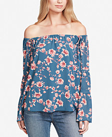Jessica Simpson Juniors' Mixed-Print Off-The-Shoulder Top