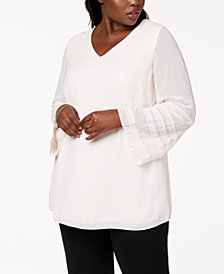Alfani Plus Size Illusion-Sleeve Top, Created for Macy's