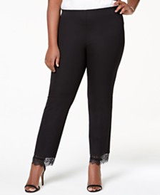 Alfani Plus Size Lace-Hem Ankle Pants, Created for Macy's