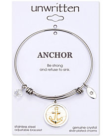 "Unwritten ""Strength"" Mother-of-Pearl Anchor Charm Adjustable Bangle Bracelet in Two-Tone Stainless Steel"