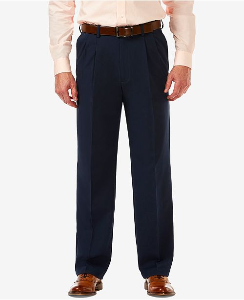 96fec177a7 ... Haggar Men's Cool 18 PRO Classic-Fit Expandable Waist Pleated Stretch  Dress Pants ...