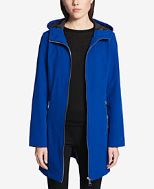 Calvin Klein Petite Hooded A-Line Softshell Raincoat