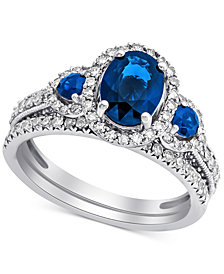 Sapphire (1-5/8 ct. t.w.) & Diamond (5/8 ct. t.w.) Bridal Set in 14k White Gold