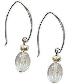 Jody Coyote Iridescent Oval Glass Bead Drop Earrings in Sterling Silver & Silver-Plate