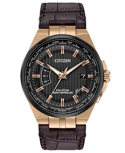 Citizen Eco-Drive Men's World Perpetual A-T Brown Leather Strap Watch 42mm