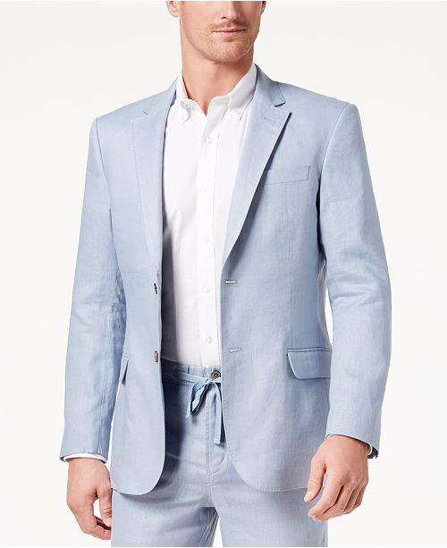Tasso Elba Men's Linen 2-Button Blazer (Dusty Blue)