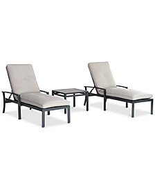 Marlough II Outdoor Aluminum 3-Pc. Chaise Set (2 Chaise Lounges and 1 End Table) with Sunbrella® Cushions, Created for Macy's
