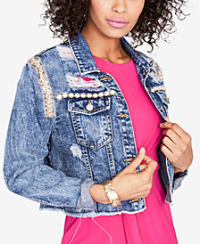 RACHEL Rachel Roy Embellished Cropped Denim Jacket, Created for Macy's