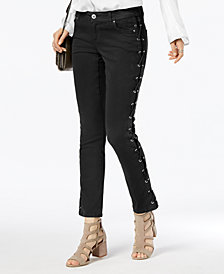 I.N.C. Lace-Up Skinny Jeans, Created for Macy's