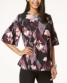 Alfani Floral-Print Flutter-Sleeve Top, Created for Macy's