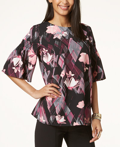 Alfani Petite Printed Smocked-Sleeve Top, Created for Macy's