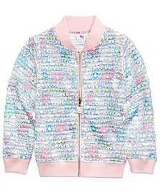 Hello Kitty Printed Shadow-Stripe Scuba Bomber Jacket, Little Girls