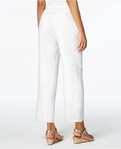 Collection Linen JM Macy's Wide Bright White Created Leg Pants for HZfwdqf