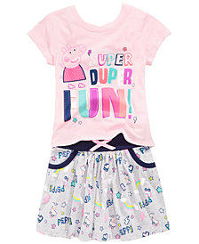 Peppa Pig 2-Pc Printed T-Shirt & Skirt Set, Little Girls