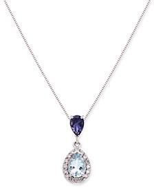 """Aquamarine, Iolite and Diamond (1 ct. t.w.) 18"""" Pendant Necklace"""