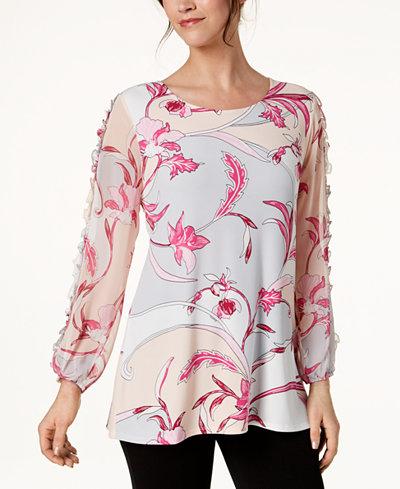Alfani Printed Blouson-Sleeve Tunic, Created for Macy's