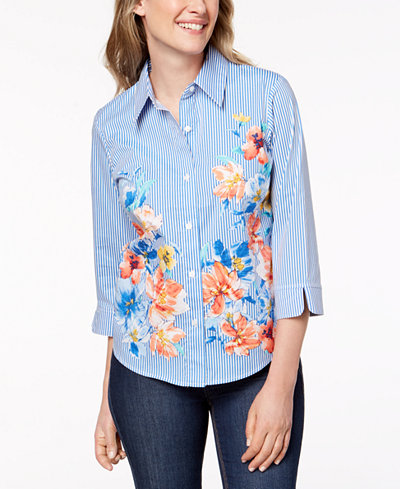 Alfred Dunner Petite Sun City Floral-Print Shirt
