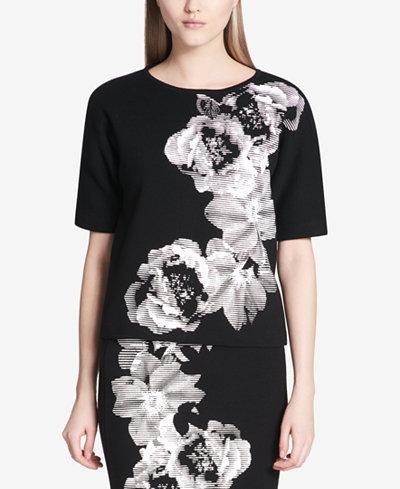 Calvin Klein Cotton Floral-Print Sweater