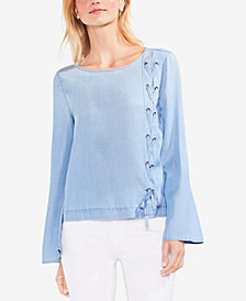 Vince Camuto Lace-Up Bell-Sleeve Top