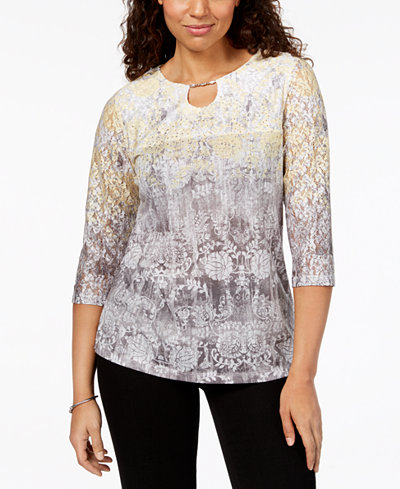 Alfred Dunner Charleston Ombré Lace-Sleeve Layered-Look Top