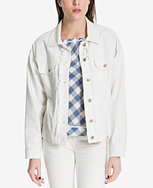 Max Studio London Frayed Denim Jacket, Created for Macy's