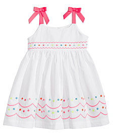 Blueberi Boulevard Embroidered Cotton Sundress, Baby Girls