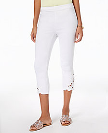 I.N.C. Petite Lace-Hem Capri Pants, Created for Macy's
