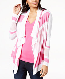 I.N.C. Petite Colorblocked Open-Front Cardigan, Created for Macy's