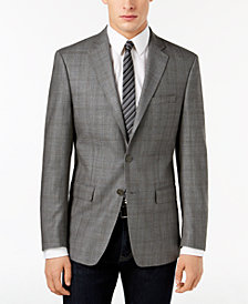 Calvin Klein Men's Slim-Fit Gray/Brown Windowpane Silk and Wool Sport Coat
