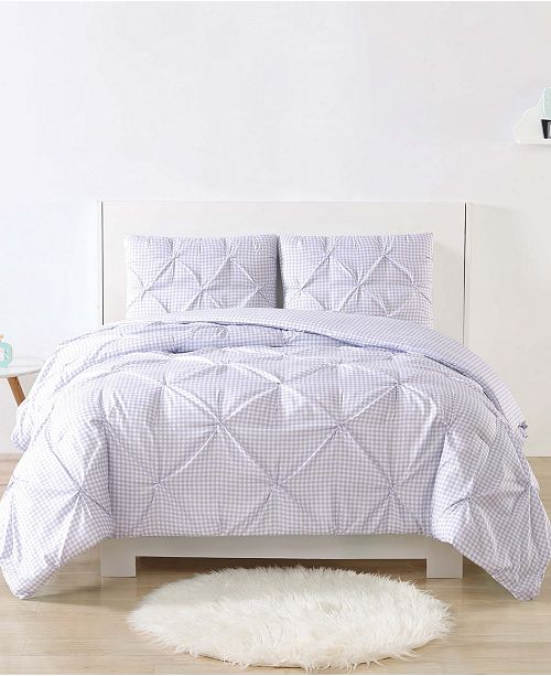 My World Printed Gingham Pinch Pleat 2-Pc. Twin/Twin XL Duvet Cover Set