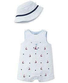 Little Me 2-Pc. Striped Seersucker Cotton Hat & Sunsuit Set, Baby Boys