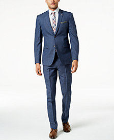 Original Penguin Men's Slim-Fit Stretch Medium Blue Plaid Suit