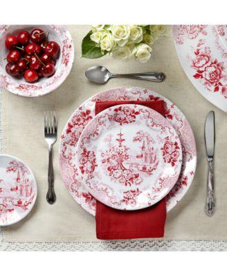 Q Squared Cambridge Rose in Crimson Melamine Dinnerware Collection  sc 1 st  Macy\u0027s & Q Squared Cambridge Rose in Crimson Dinner Plates Set of 4 ...