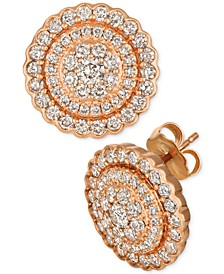 Strawberry & Nude™ Diamond Circle Cluster Stud Earrings (1-3/8 ct. t.w.) in 14k Rose Gold