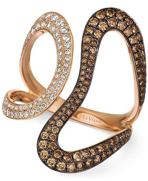 Le Vian Chocolatier® Diamond Contemporary Swirl Ring (1 ct. t.w.) in 14k Rose Gold