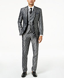 Tallia Orange Men's Modern-Fit Black Medallion Suit Separates