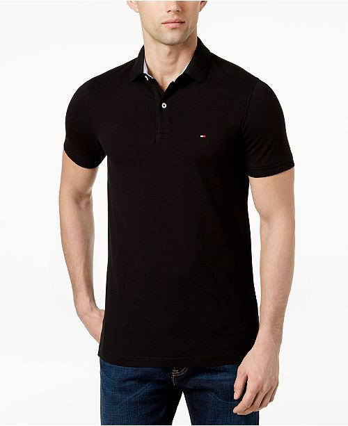 Tommy Hilfiger Men s Slim-Fit Stretch Logo Polo Shirt - Polos - Men ... 80086047135d4