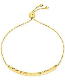 Textured Bar Bolo Bracelet in 10k Gold