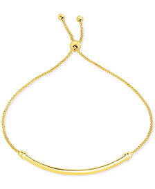 Bevelled-Edge Polished Bar Bolo Bracelet in 10k Gold