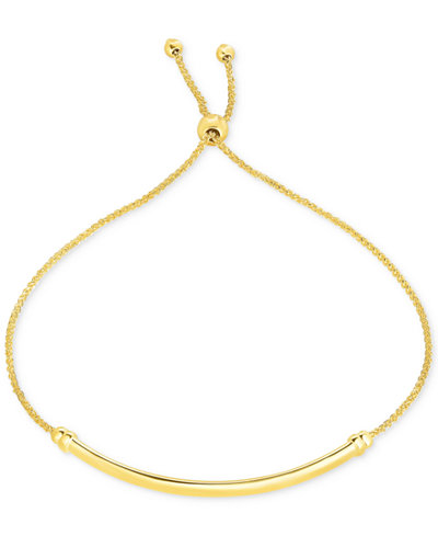 Bevelled-Edge Polished Bar Bolo Bracelet in 10k Gold