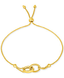 Linked Ring Bolo Bracelet in 10k Gold
