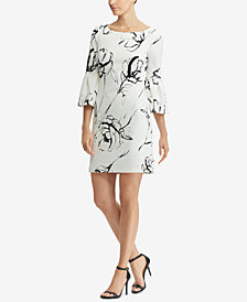 Lauren Ralph Lauren Petite Floral-Print Bell-Sleeve Crepe Dress, Created for Macy's