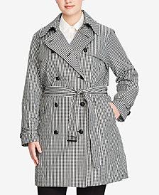 Lauren Ralph Lauren Plus Size Gingham Trench Coat