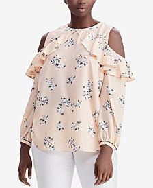 Lauren Ralph Lauren Plus Size Floral-Print Cold-Shoulder Top