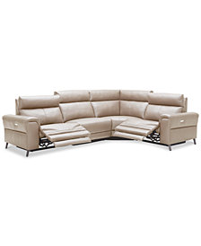 Raymere 4-Pc. Leather Sectional Sofa With 2 Power Recliners, Power Headrests And USB Power Outlet, Created for Macy's