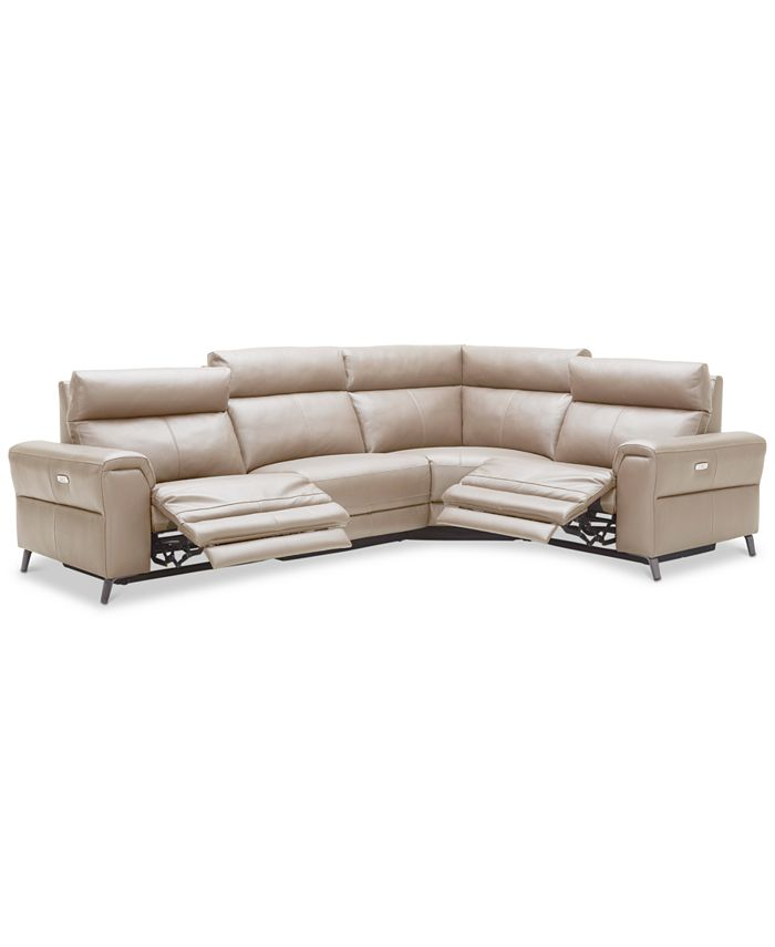 Furniture - Raymere 4-Pc. Leather Sectional Sofa With 2 Power Reclining Chairs, Power Headrests, And USB Power Outlet